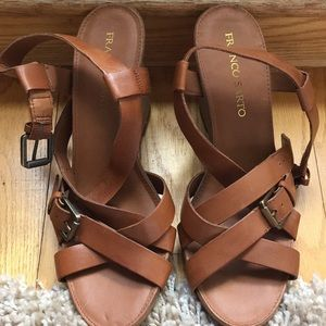 Franco Sarto brown leather opentoed wedges size 10